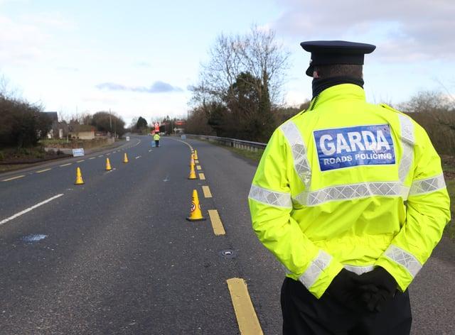 Garda at a checkpoint
