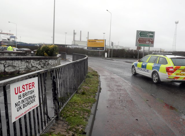 An anti-Brexit sign near the entrance to Larne Port