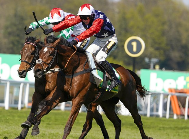 Tom Cannon riding Potterman (left) wins the bet365 Gold Cup