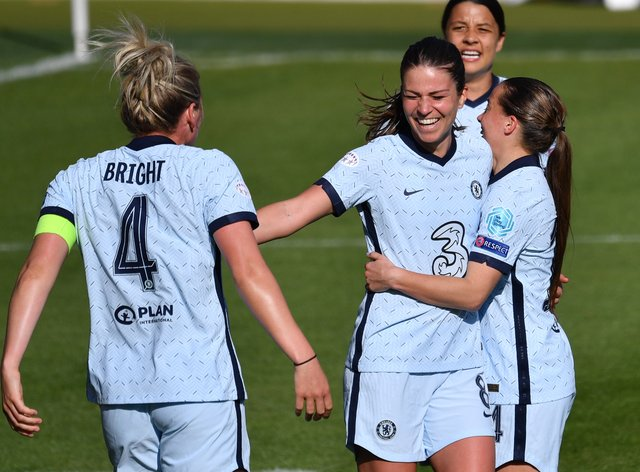 Chelsea's Melanie Leupolz (centre) celebrates scoring what could be a crucial away goal