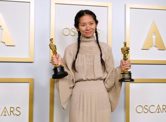 Chloe Zhao with the best picture and best director Oscars for Nomadland
