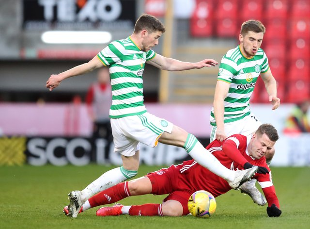 Ryan Christie (left) in action for Celtic