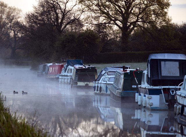 Mist rises on the canal at Biddulph in Staffordshire