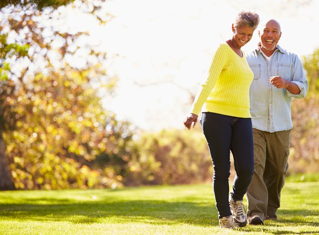 Mature couple out for a walk