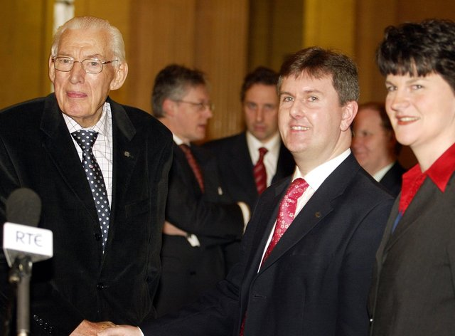 Lagan Valley MP Jeffrey Donaldson (centre) and ex-Ulster Unionist Arlene Foster (right) with the Rev Ian Paisley, then leader of the Democratic Unionists, at Stormont (Paul Faith/PA)