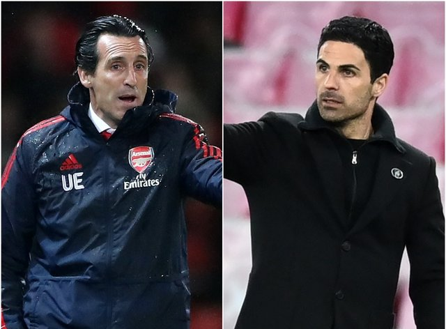 Unai Emery (left) and Mikel Arteta on the touchline