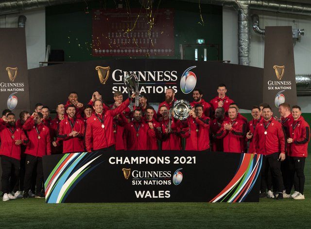 Wales celebrate after winning the 2021 Six Nations