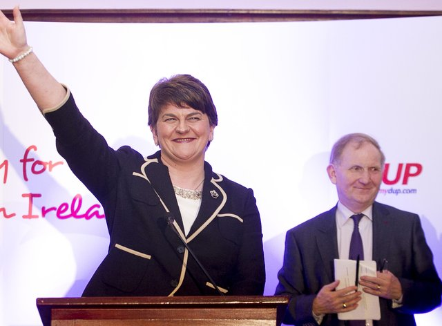 Arlene Foster after she was formally elected as leader of the Democratic Unionist Party in 2015