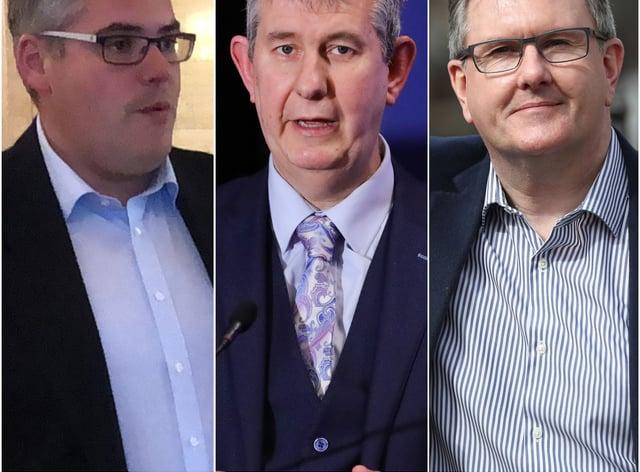 Gavin Robinson, Edwin Poots and Sir Jeffrey Donaldson