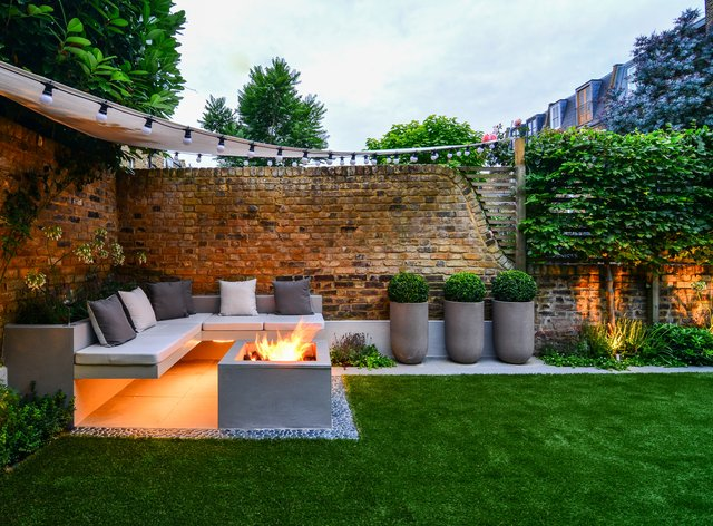 Garden setting with built-in under-seat lighting