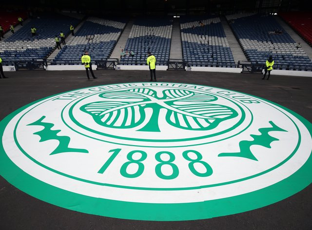 A giant Celtic badge at Hampden Park