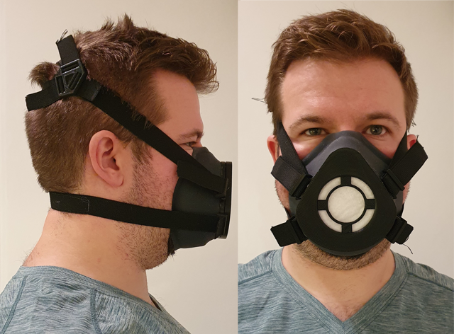 Researcher wearing a reusable mask