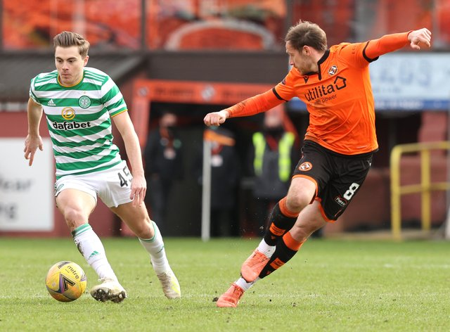 Peter Pawlett (right) in action for Dundee United
