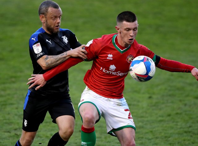 Rory Holden (right) in action for Walsall