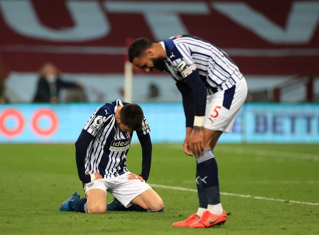 West Brom players appear dejected