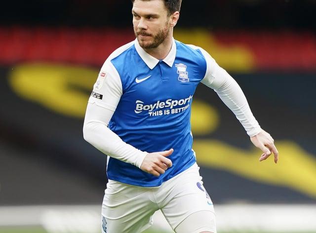 Birmingham striker Scott Hogan's season has been ended by a hip injury