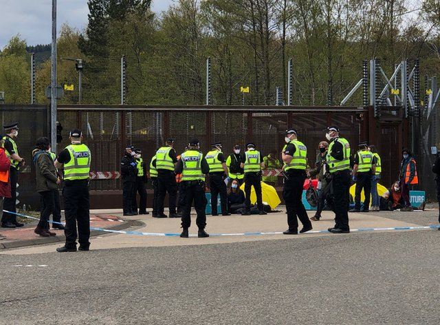 Police and protesters at Faslane