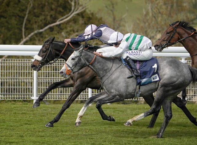 Alpinista (grey) just prevailed at Goodwood