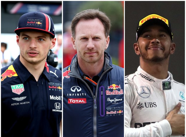 Christian Horner, centre, believes Max Verstappen's rivalry with Lewis Hamilton could boil over
