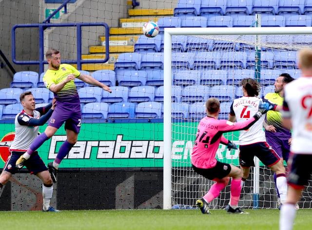 Exeter defender Pierce Sweeney (left) scores his side's winning goal at Bolton