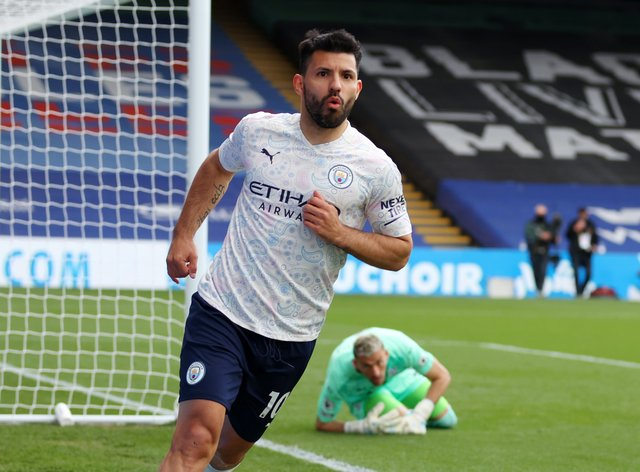 Sergio Aguero put Manchester City 1-0 up at Crystal Palace in the 57th minute Catherine Ivill/PA).