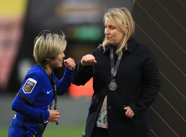 """Emma Hayes, right, has stressed """"we're about winning things"""" at Chelsea"""