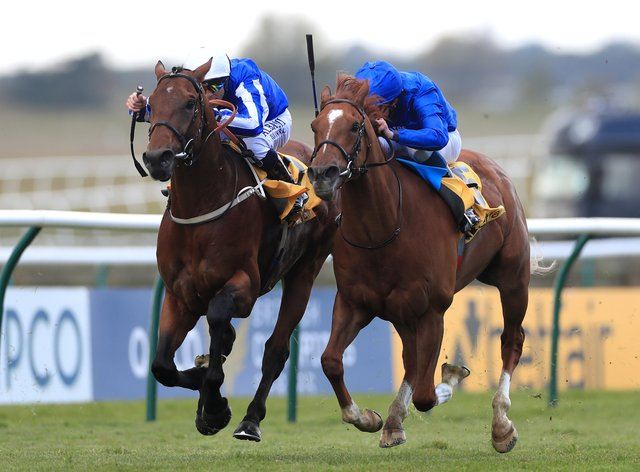 Zabeel Champion and Ben Curtis (left) get up to score at Newmarket