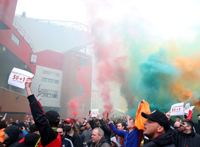 United fans protested outside and some broke into the stadium