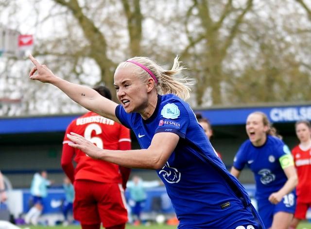 Pernille Harder celebrates Chelsea's crucial third goal