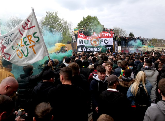 Fans protested outside the ground and some made it inside