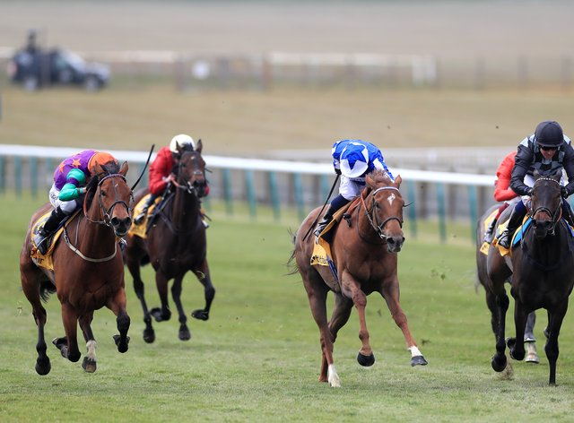 Lady Bowthorpe (left) battles to a narrow victory in the Betfair Dahlia Stakes