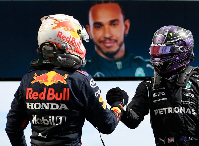 Lewis Hamilton and Max Verstappen shake hands after the race