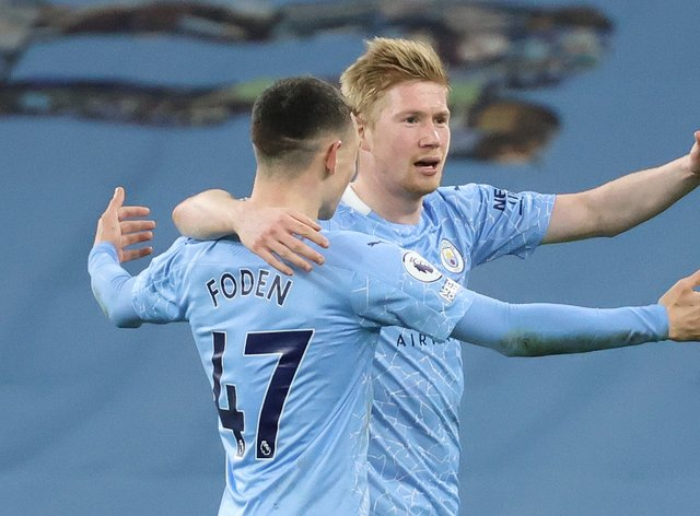 Manchester City duo Phil Foden (left) and Kevin De Bruyne