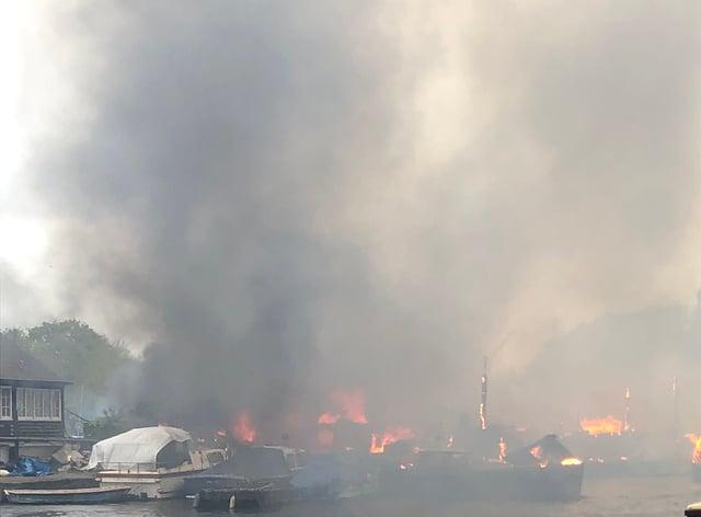 The fire at Platt's Eyot island