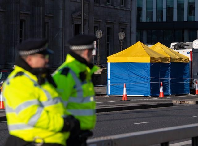 Police tents outside Fishmongers' Hall, on London Bridge