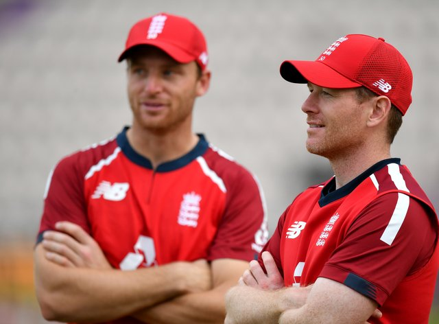 Jos Buttler (left) and Eoin Morgan are among the 11 England players still involved in the IPL