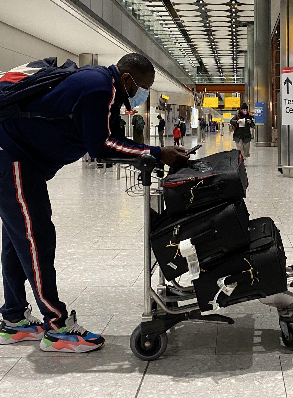 A passenger at Heathrow Airport