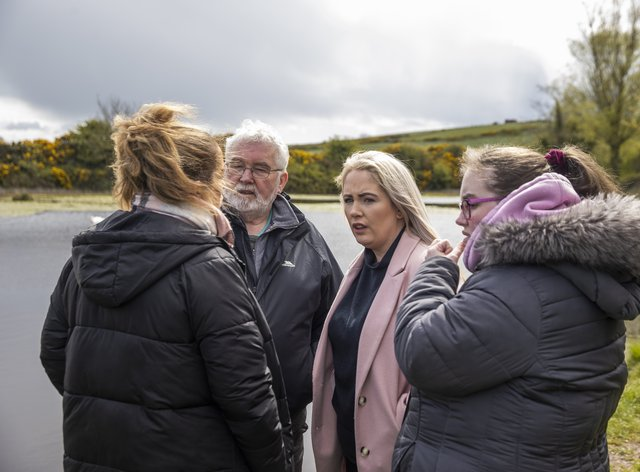 Lisa Dorrian's family, (left to right) sister Michelle, father John, sister Joanne, and sister Ciara, attending a media briefing at The Clay Pits, Ballyhalbert, Northern Ireland. Detective Superintendent Jason Murphy, who is leading the investigation into the disappearance and murder of Lisa Dorrian in February 2005, has updated members of the media on a large scale search operation currently taking place (Liam McBurney/PA)