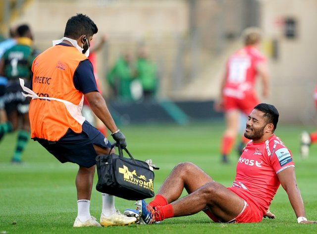 Manu Tuilagi suffered an Achilles injury in Sale's match at Northampton in September