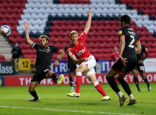Jayden Stockley, centre, scores Charlton's first goal