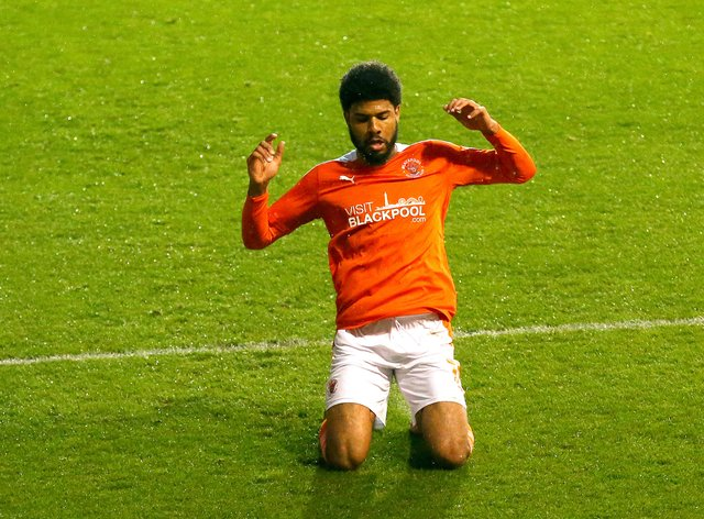 Ellis Simms starred for Blackpool
