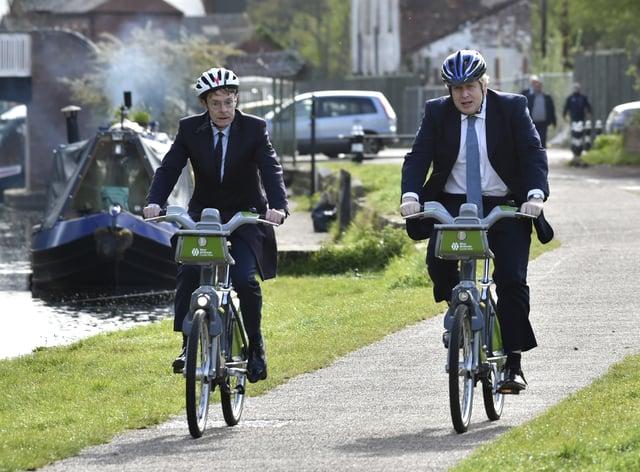 Boris Johnson and Andy Street on bikes