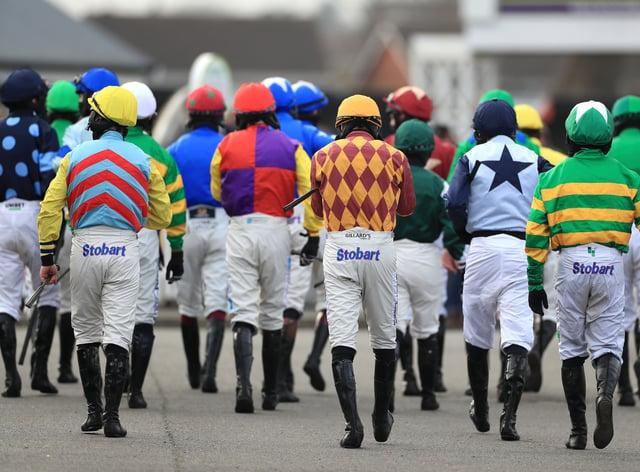 Jockeys at Uttoxeter on Midlands National day