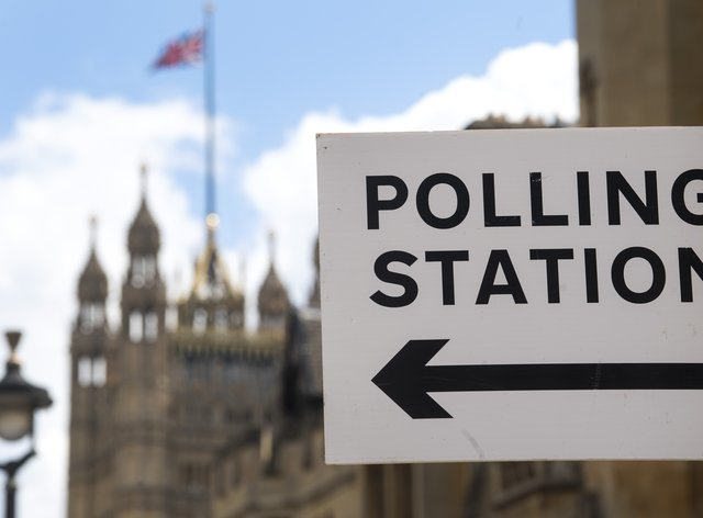 A polling station sign in London