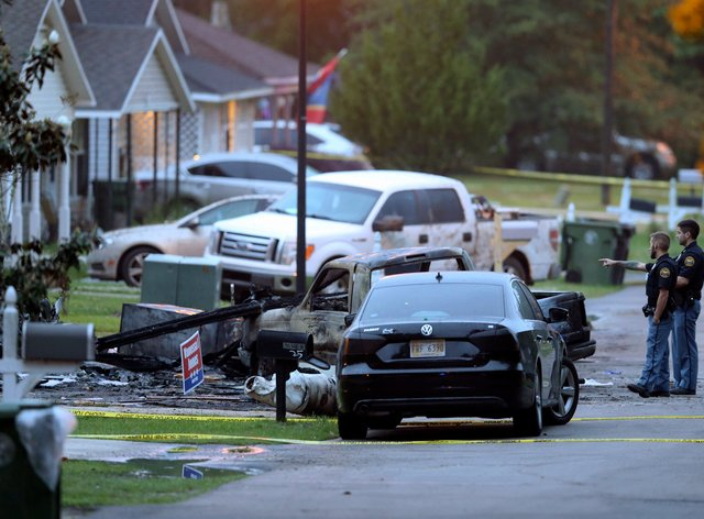 Police at the scene of the plane crash in Hattiesburg