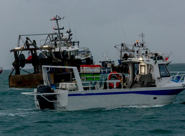 French fishing vessels outside the harbour at St Helier
