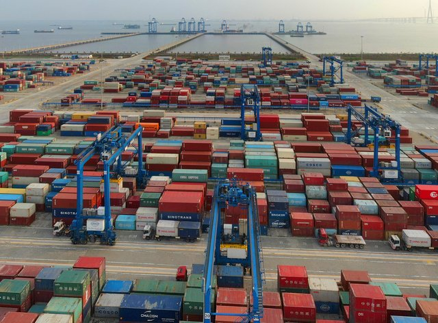 a container port on the Yangtze River is seen in an aerial view in Nantong in eastern China's Jiangsu province