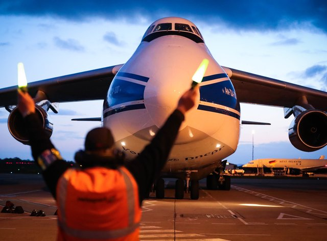 The world's largest cargo plane has left Belfast flying three 18-tonne oxygen generators and 1,000 ventilators as part of the UK's latest response to India's Covid-19 crisis