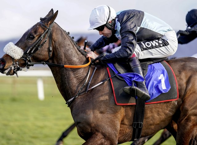 Copperless, ridden by Aidan Coleman, on their way to winning the Ray Wonnacott 80 And Not Out Handicap Hurdle at Taunton Racecourse