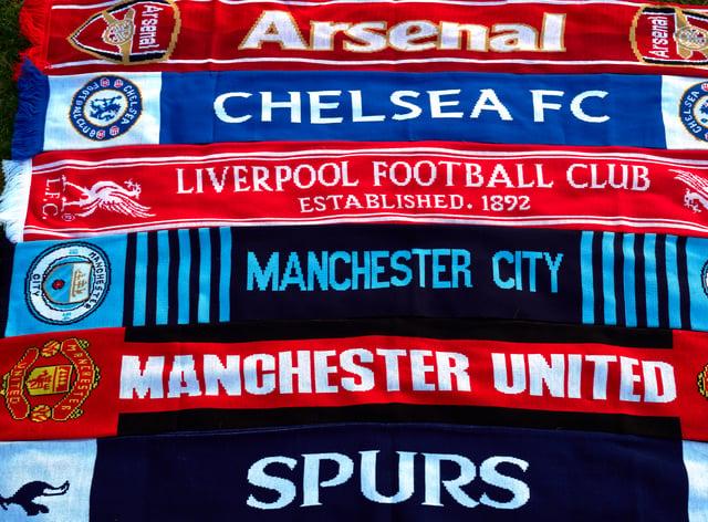 Scarves of the Premier League's 'Big Six'